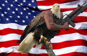 «Murica» aigle modifié avec un bras de soldat et une arme automatique