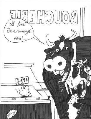 Joke - Safarir - boeuf et vaches à la boucherie