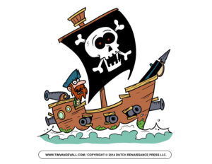 Cartoon pirate on boat