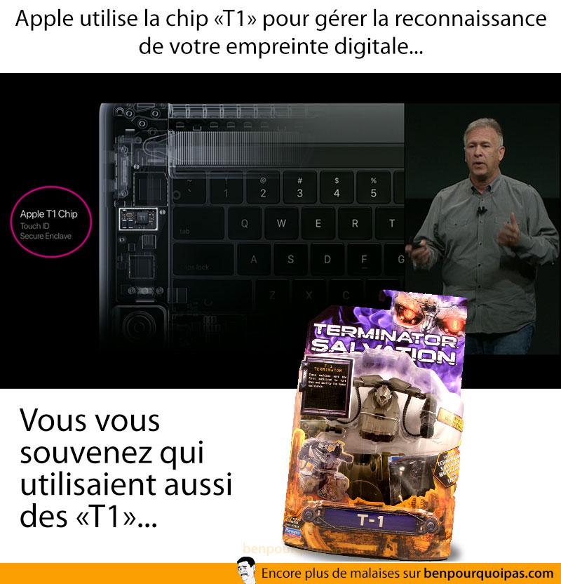 Apple utilise la t1 chip pour le touch id