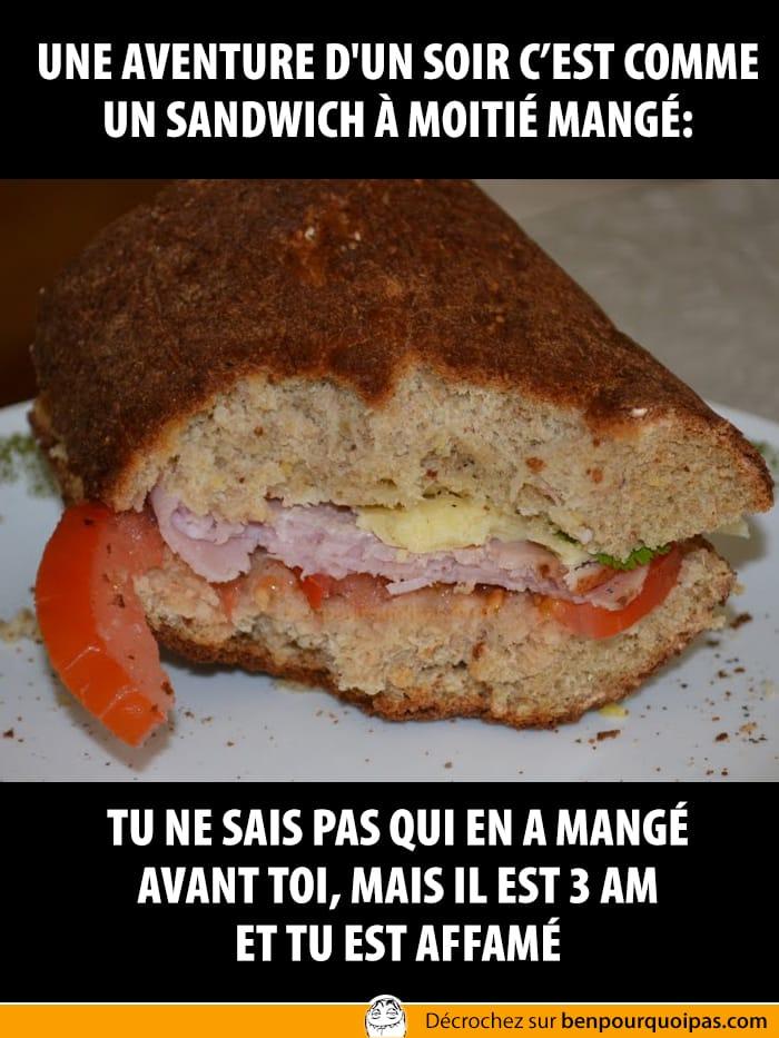 ben pourquoi pas Une aventure d'un soir c'est comme un sandwich à moitié mangé