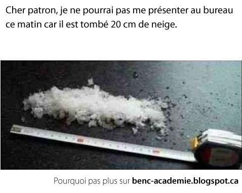 20 cm de neige avec ruban à mesurer
