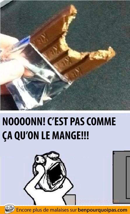 Barre de chocolat Kit-kat, c'est pas comme ça qu'on la mange!!!