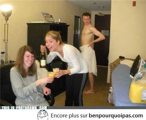 Photo bombe en serviette