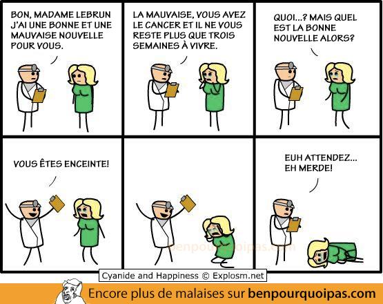Cyanide and Happiness en français: le docteur a une bonne et mauvaise nouvelle