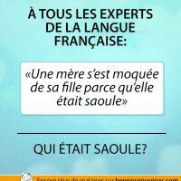 Experts et français, déterminez qui était saoule!