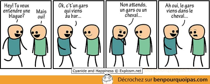 Une fois c't'un gars qui viens au bar - Cyanide and Happiness en français