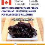 Rappel de santé Canada: réglisse noire