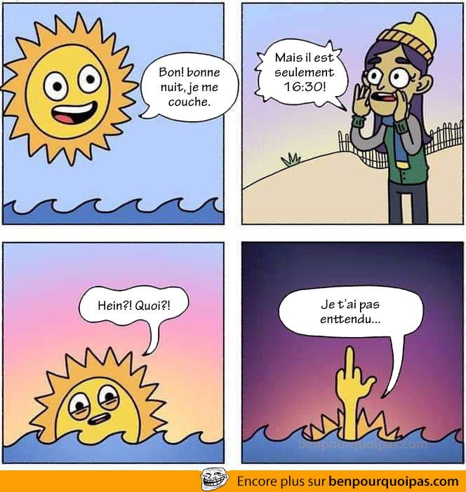 Quand on recule l'heure et que le soleil se couche plus tôt...