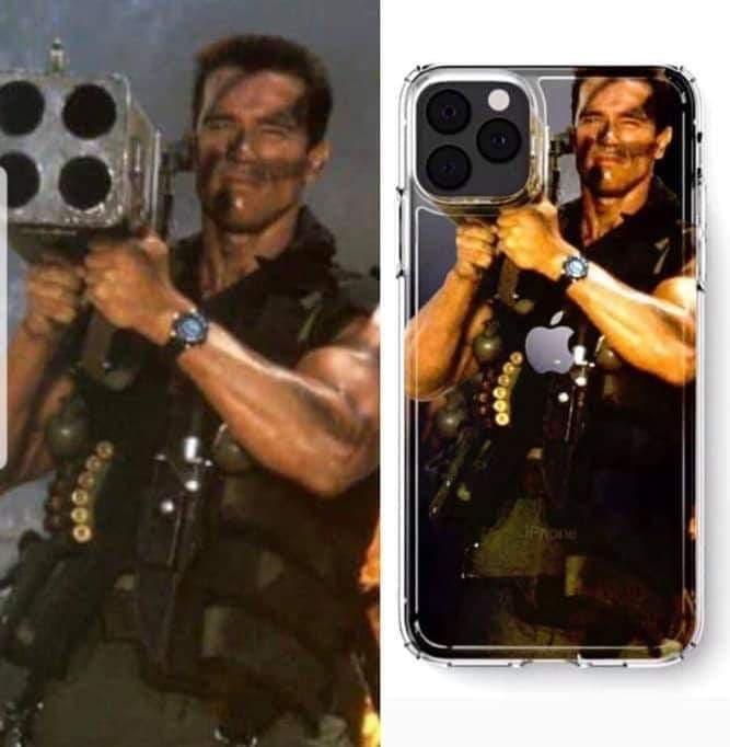 Arnold tiens une arme pour le case du iPhone 11 Pro