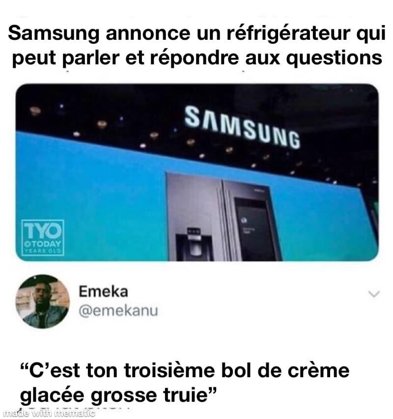 Un réfrigérateur Samsung qui parle... ça promet!