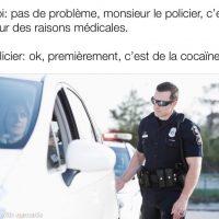 Policier arrête une voiture pour facultés affaiblies par de la cocaïne médicinales...