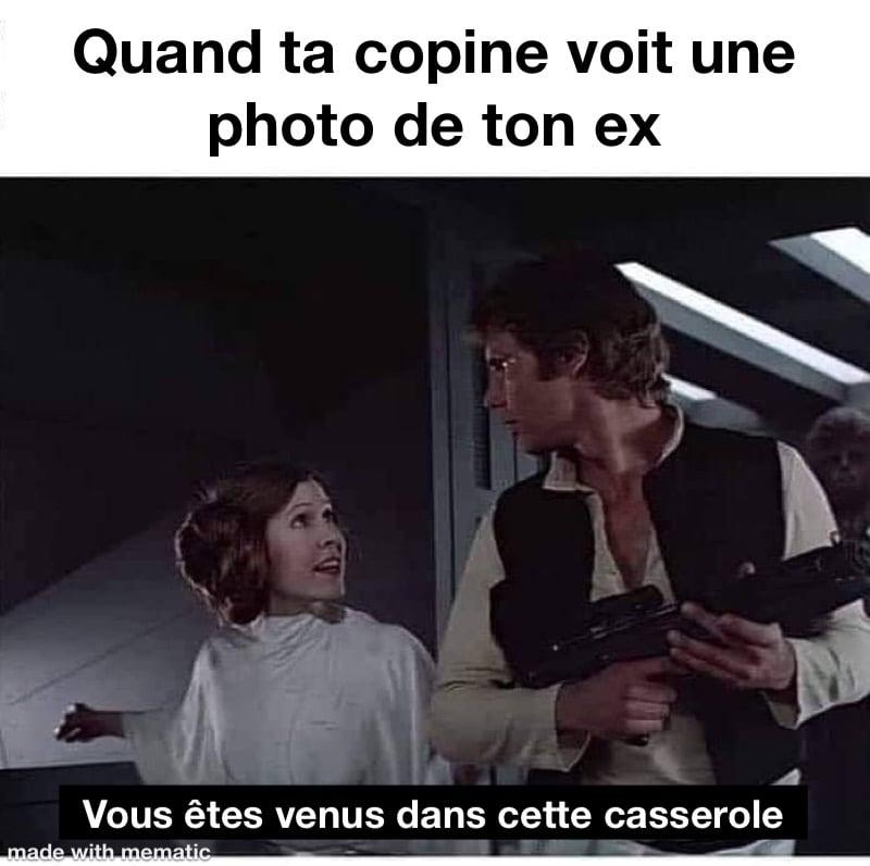 Star Wars Princesse Leia qui dit a han solo «vous êtes venus dans cette casserole»