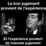 Le bon jugement provient de l'expérience…