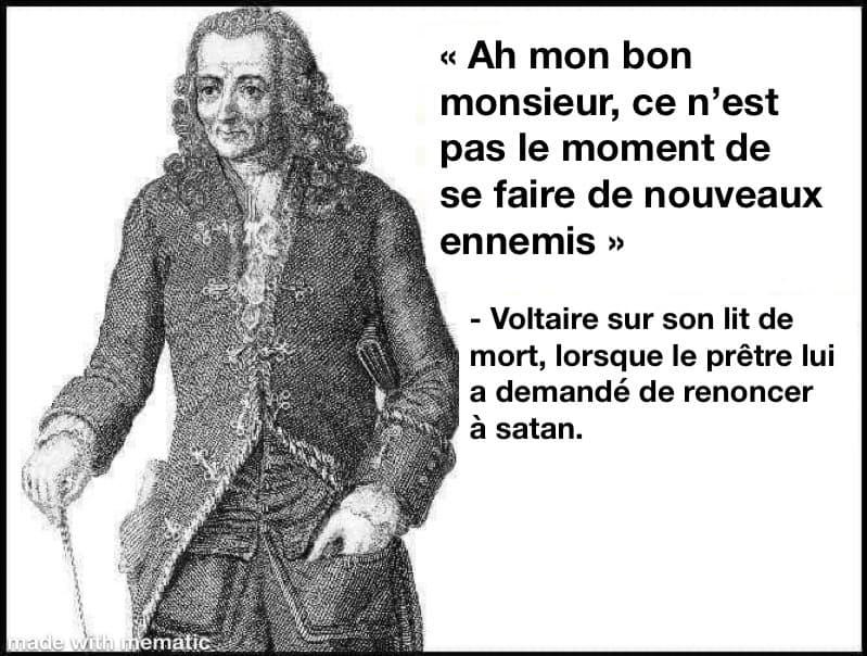 Voltaire, ce n'est pas un moment pour se faire de nouveaux ennemis