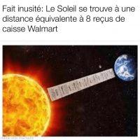Fait inusité: le soleil se trouve à une distance équivalente à 8 reçus de caisse Walmart