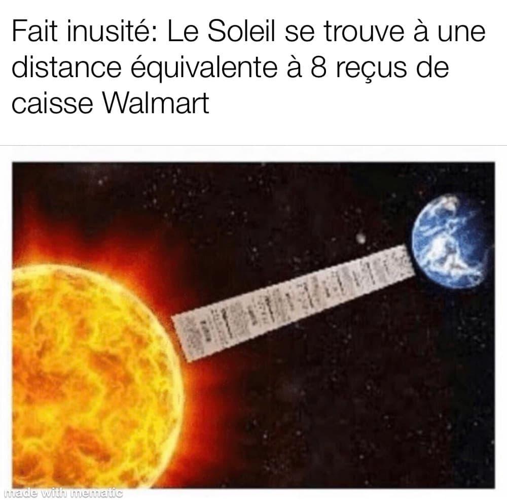 le soleil à une distance de 8 reçus Walmart