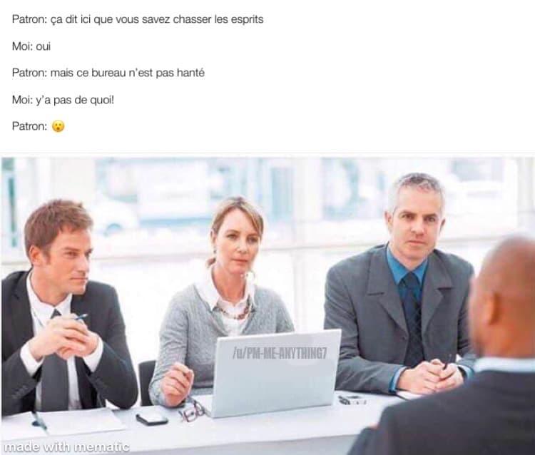 Chasseur de fantôme professionnel, dans une entrevue pour un travail de bureau