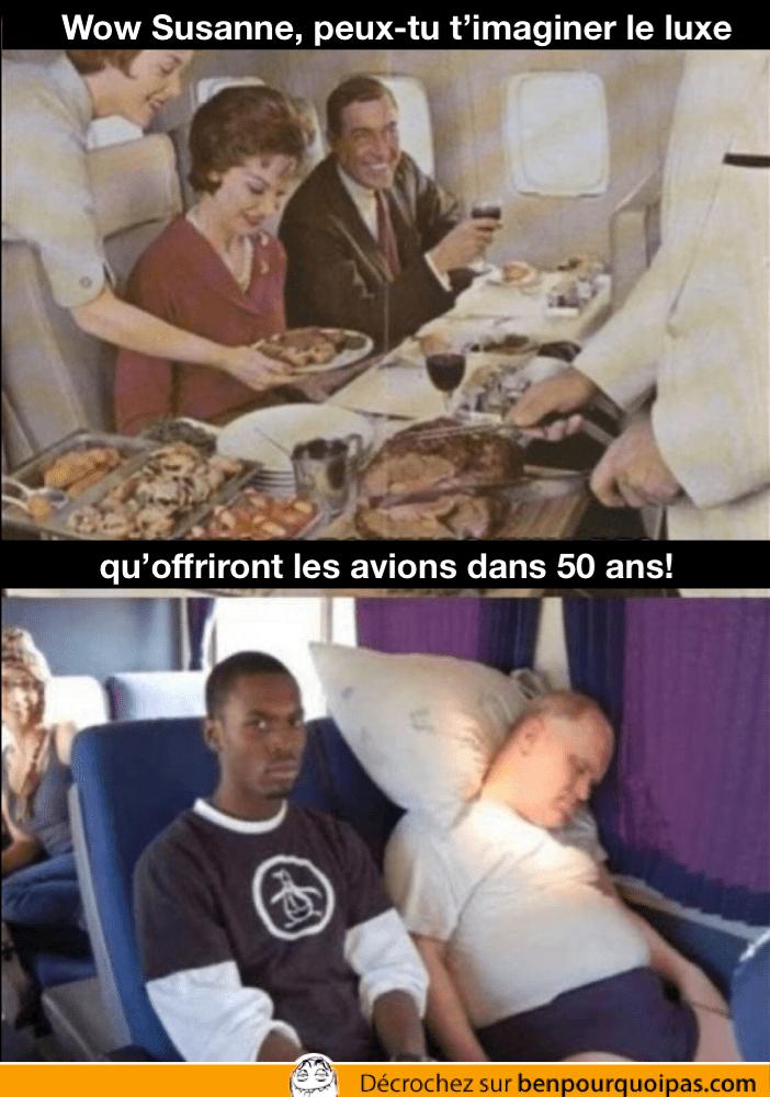 le confort dans les avions comparé à ce qu'il était il y a 50 ans