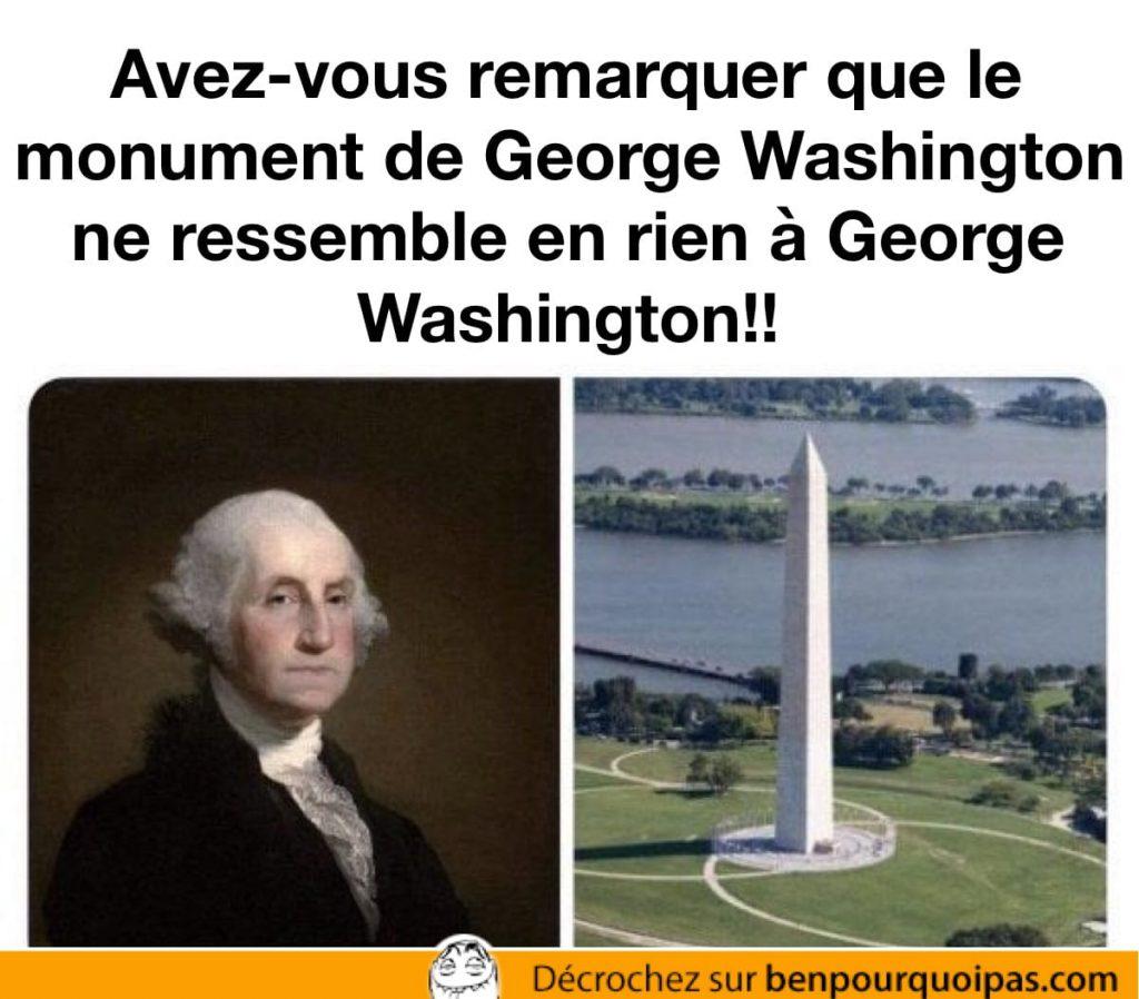 Le monument George Washington ne ressemble pas à George Washington