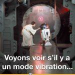 Princesse Leia cherche le mode vibration sur R2-D2