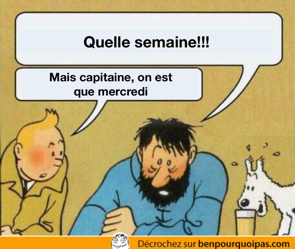 Tintin rappel au capitaine Haddock que nous somme seulement mercredi