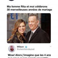 Wilson répond à Tom Hanks à propos de ses 30 années de mariage