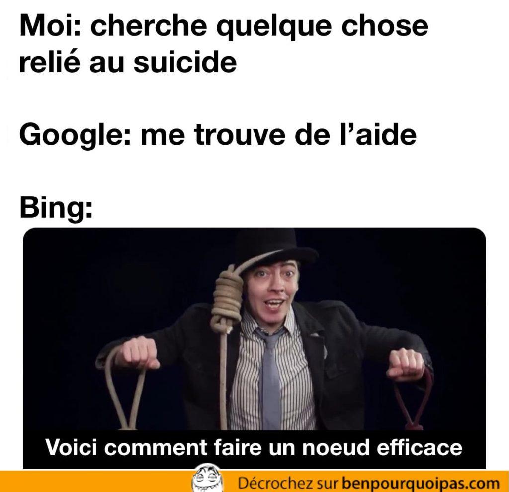 Google propose de l'aide tandis que Bing explique comment faire un noeud