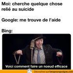 Chercher des information reliées au suicide: Google vs Bing