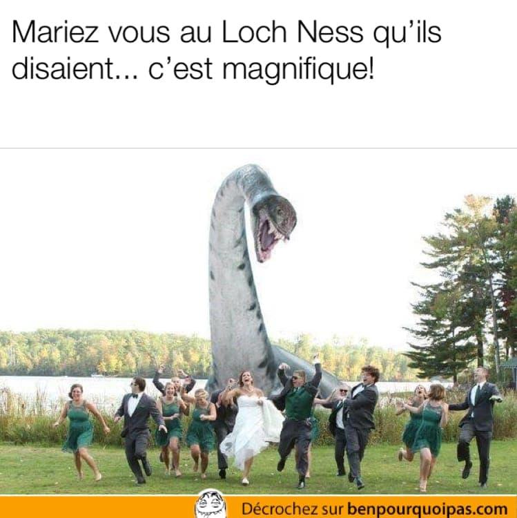 Le monstre du Loch Ness attaque un couple de mariés et leurs invités