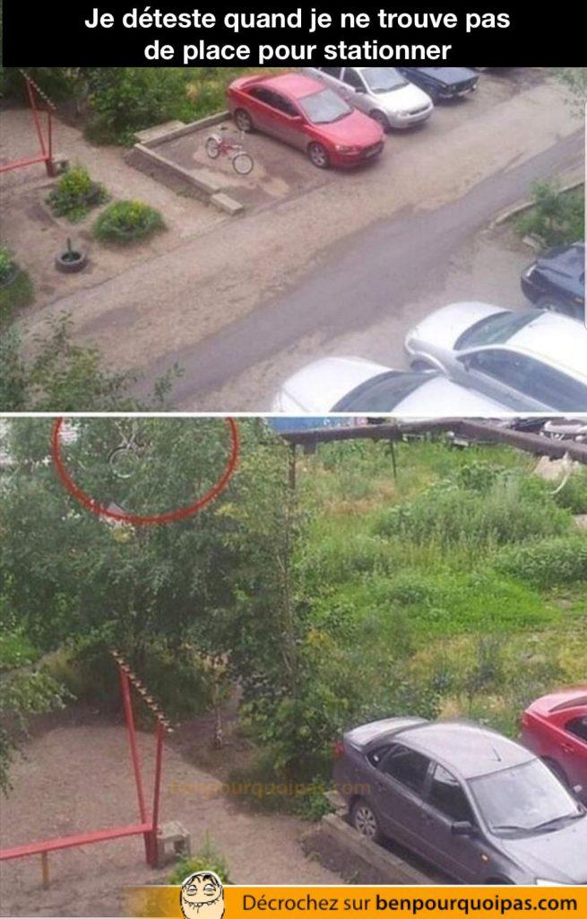 un vélo est lancé dans les buisson