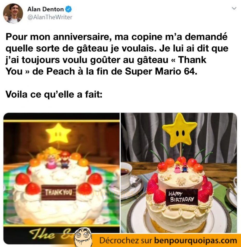 Ma copine m'a fait le gâteau Thank You de Peach montré à la fin de Super Mario 64