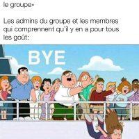 Les gens qui annoncent leur départ d'un groupe Facebook....
