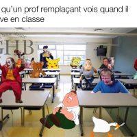 Quand un prof suppléant arrive en classe