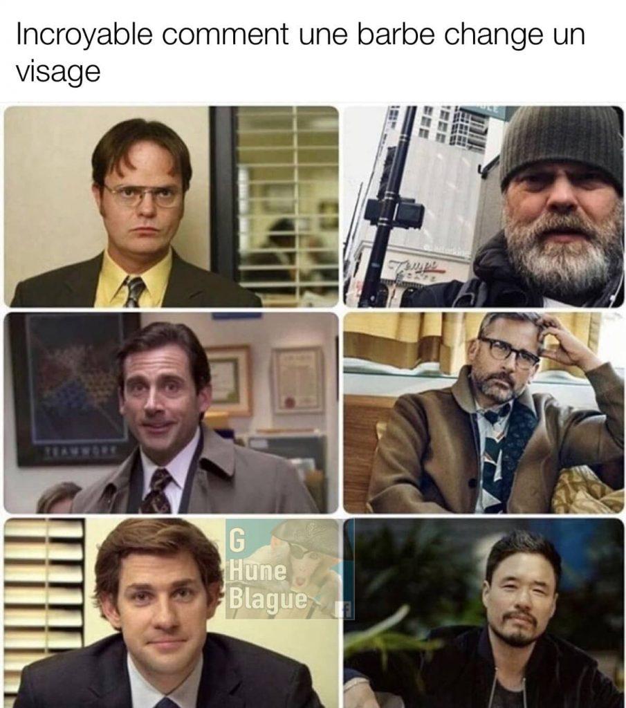Incroyable comment une barbe change un visage. The Office meme