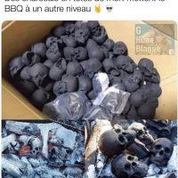 des briquettes en forme de tête de mort placent le Barbecue à un autre niveau