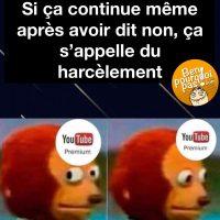 Si ça continue même après avoir dit non, ça s'appelle du harcèlement. Compris, YouTube Premium!!