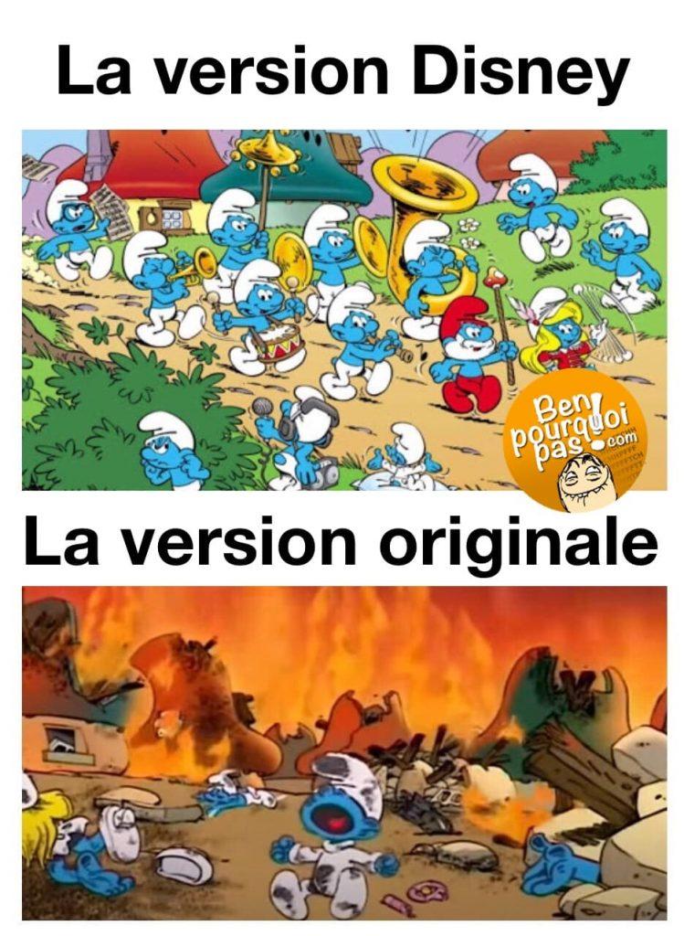 La version Disney vs la réalité. Le pays des schtroumfs est en feu