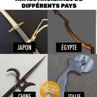 Armes anciennes de différents pays: Japon, Égypte, Chine et Italie