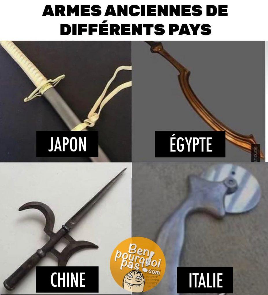 Armes anciennes de différents pays: Japon, Égypte, Chine et Italie (couteau a pizza)