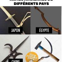 Armes anciennes de différents pays: Japon, Égypte, Chine et Union soviétique