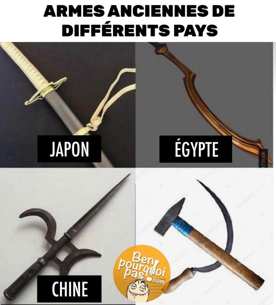 Armes anciennes de différents pays: Japon, Égypte, Chine et Union soviétique URSS