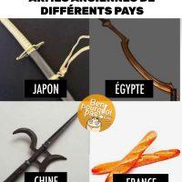Armes anciennes de différents pays: Japon, Égypte, Chine et France