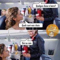 Questions stupides posée par les agentes de bords dans l'avion