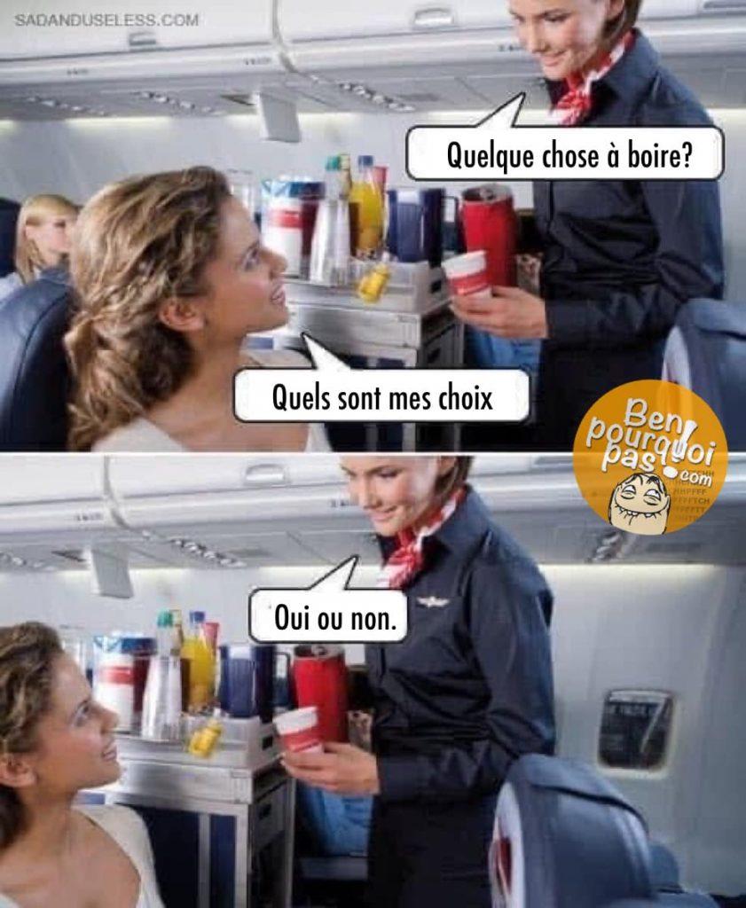 Questions stupides posée par les agent de bords dans l'avion